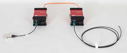 mk-messtechnik Setup of an optoLAN-88Q2112 with optical fibers and optional available Rosenberger HSD open end cables
