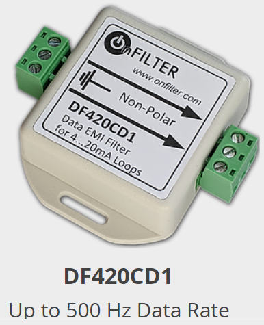 OnFILTER DFE20CD1 Data EMI Filter for 4...20mA Loops Up to 500 Hz Data Rate