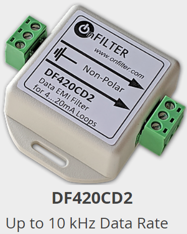 OnFILTER DFE20CD2 Data EMI Filter for 4...20mA Loops Up to 10 kHz Data Rate