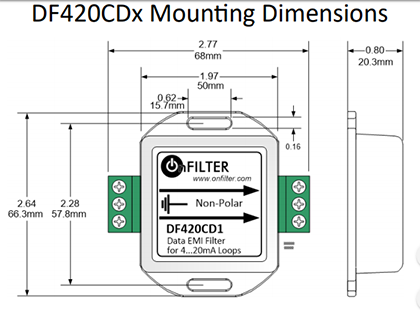 OnFILTER DF420CDx Mounting Dimensions